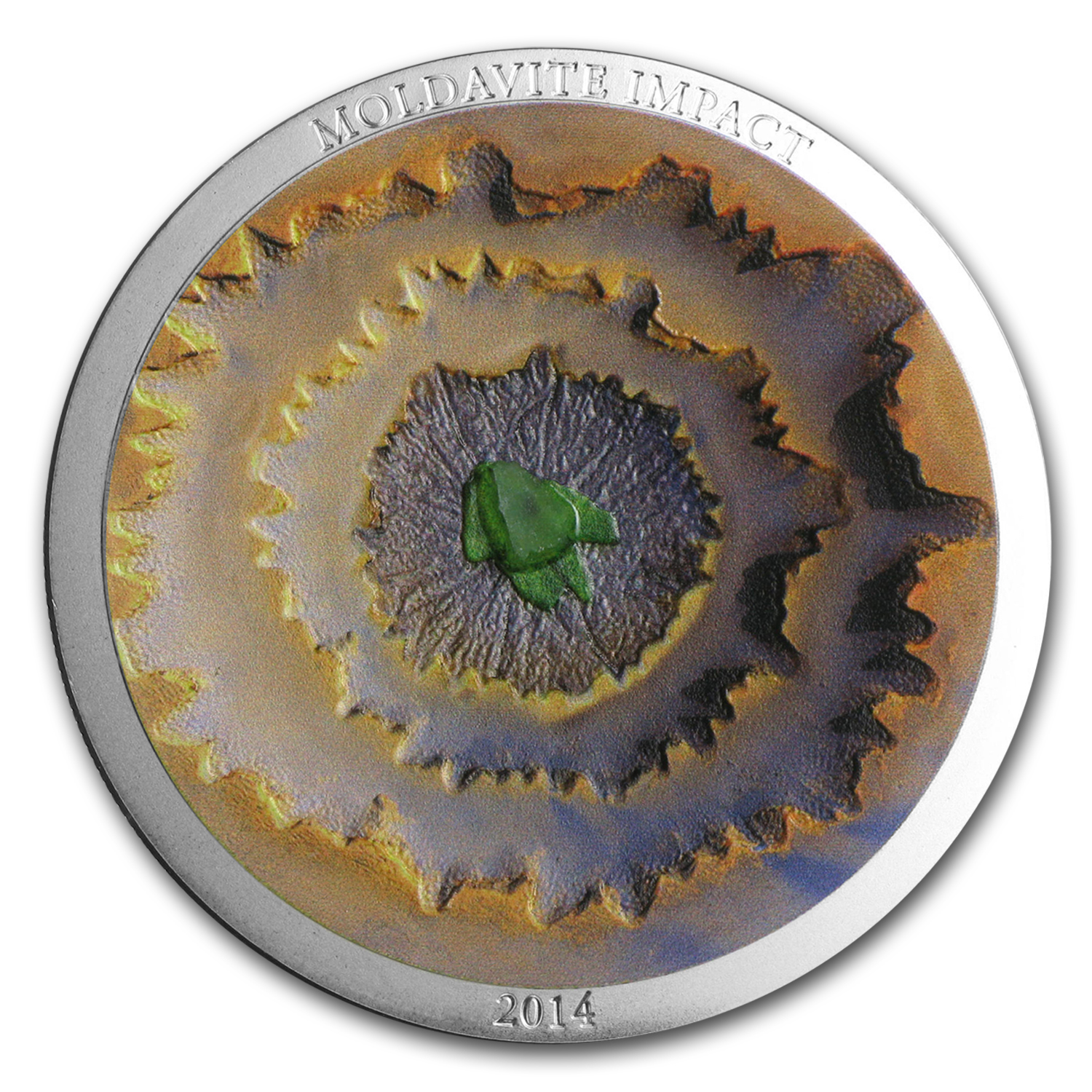 2014 Cook Islands 1 oz Proof Silver $5 Moldavite Impact